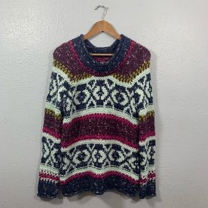 Free People Nordic Multicolored Wool Blend Sweater